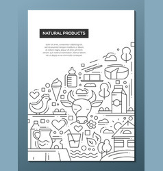 natural products - line design brochure poster vector image