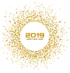 New year 2019 card christmas gold circle frame vector