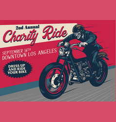 Old style motorcycle event poster vector