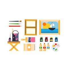 Painter icons set art tools and materials flat vector