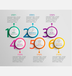 Paper infographic template with six circle options vector