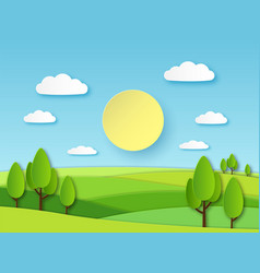Paper summer landscape panoramic green field with vector