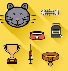 Pet care healthcare accessories flat icons vector