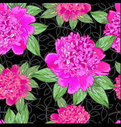 Pink peonyseamless pattern 5 vector