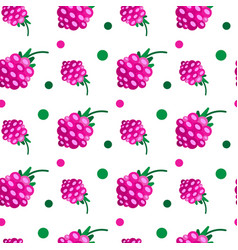 pink raspberries ripe berries seamless pattern vector image