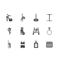 pole dance flat glyph icons set sexy girl dancing vector image