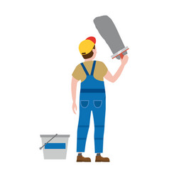 Professional working man applies plaster vector
