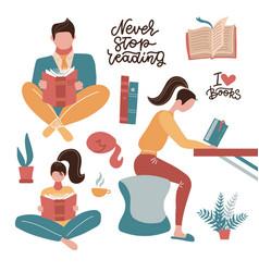reading people set on white background sitting vector image
