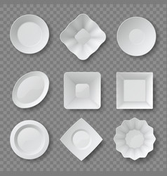 Realistic food plates empty white round vector