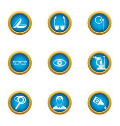 Scientific environmentalist icons set flat style vector