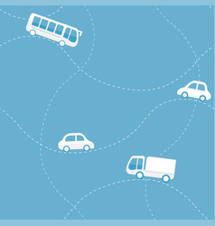 seamless pattern with cars bus and truck vector image