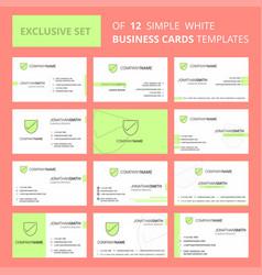 Set of 12 sheild creative busienss card template vector