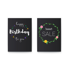 set of happy birthday and summer sale posters with vector image
