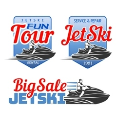 Set of Jet Ski rental fun tour service and vector