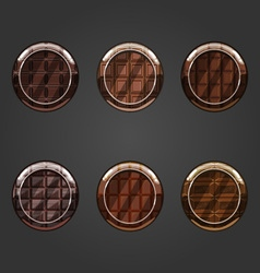 Set of round concave chocolate buttons vector
