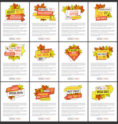 Set of sale adverts with autumn foliage and leaves vector