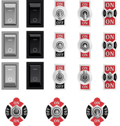 Set of toggle and tumbler switches vector
