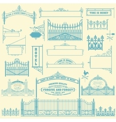 Set of wrought iron wicket fence and gates vector image