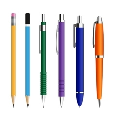 set pens and pensils vector image