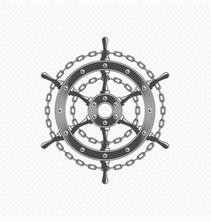 ship steering wheel with chain link vector image