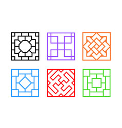 Square chinese window frame in flat art vector