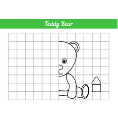 Symmetric coloring book repeat teddy bear vector