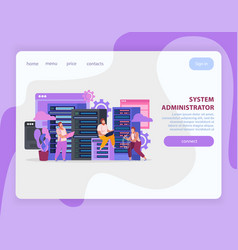 System administrator landing page vector
