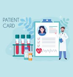 tiny doctor show medical patient card concept of vector image