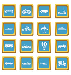 transportation icons azure vector image