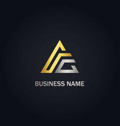 Triangle line delta gold logo vector