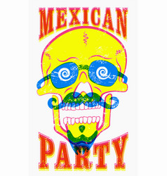 Typographic retro grunge mexican party poster vector