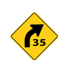 usa traffic road signs right curve aheadadvisory vector image
