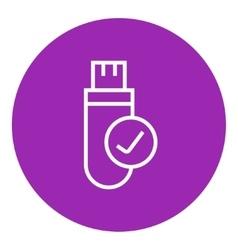 USB flash drive line icon vector