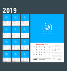 Wall calendar template for 2019 year week starts vector