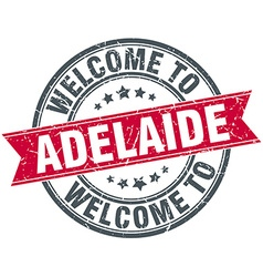 Welcome to Adelaide red round vintage stamp vector