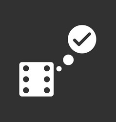 White icon on black background dice and check mark vector