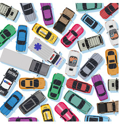 white road with different vehicles in traffic jam vector image
