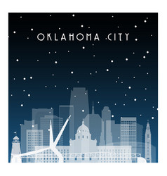 winter night in oklahoma city night city vector image