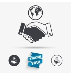 World handshake sign icon Amicable agreement vector image