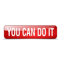 You can do it red square 3d realistic isolated web vector