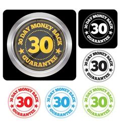 30 Day Money Back Guarantee Seal Set vector image vector image