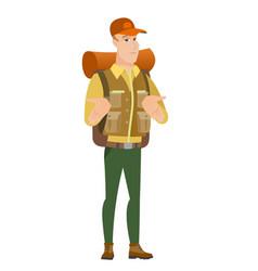 african confused traveler shrugging shoulders vector image vector image