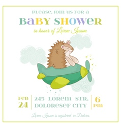 Baby Shower or Arrival Card - Baby Hedgehog vector image vector image