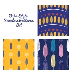 Boho Style Feathers Seamless Patterns Set vector image