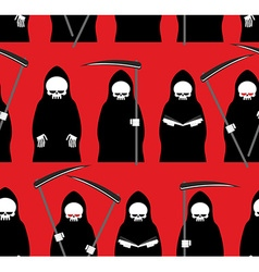 Death seamless pattern Grim Reaper red background vector image vector image