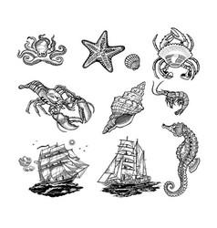 sea life icons vector image
