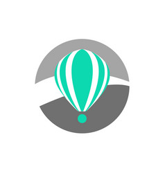 simple turquoise hot air balloon icon vector image vector image