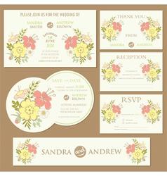 spring wedding invitation cards set vector image vector image