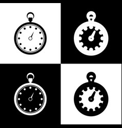 stopwatch sign black and vector image vector image