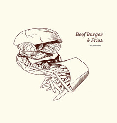 a burgerwith fries drawing vector image